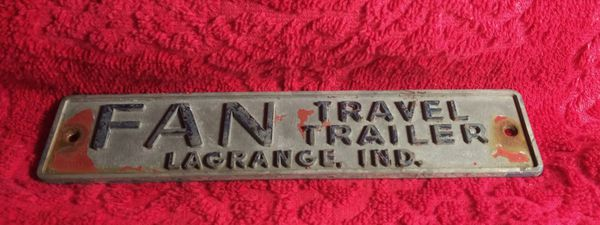 Vintage FAN Travel Trailer Emblem LaGrange Ind