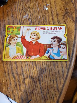 Vintage sewing Susan needle kit advertisement on back for Sale in La Mirada, CA