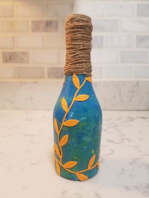 Used, Teal Yellow Vine Single Vase for Sale for sale  Bronx, NY