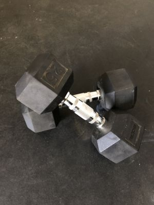 Rubber Hex 25lb dumbbells for Sale in San Diego, CA