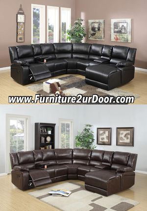 2 Colors Available - Black or Brown Bonded Leather Reclining Sofa Sectional Couch for Sale in Orange, CA