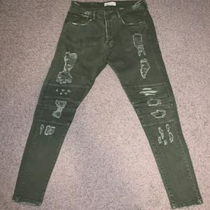 Zara Biker Moto Skinny Jeans Green Size 30 for Sale in New York, NY