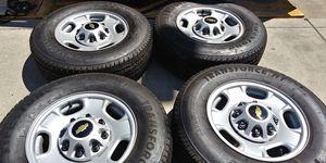 2020 Silverado 2500PHD. RIMS FIRESTONE LT265/70/17 TIRES less than 73 miles $650 FIRM OR GOOD TRADE for Sale in Stockton, CA