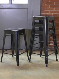 New in box $25 each 16x16x24 Inches Tall Steel Stackable Iron Metal Chair Bar Counter Height Stool Barstool Black White or Gunmetal Color for Sale in West Covina,  CA