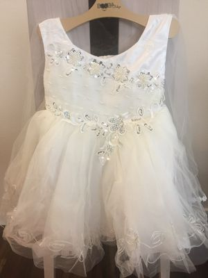 Flower Girl Dress - WHITE with White Floral Sequin Motifs and White Studded Pearls (Multiple Sizes) for Sale in Kent, WA