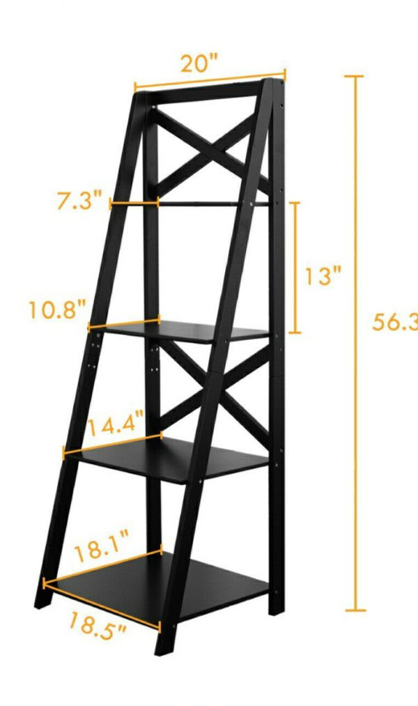 4-tier black ladder shelf