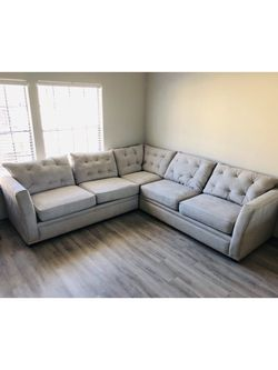 Klaussner Sectional L-Shape 3 Piece Sofa Couch North Carolina Made Nailhead Gray Silver for Sale in Dallas,  TX