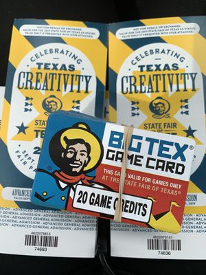 Admission tickets 10.00 game cards 5 you can't get a better deal for Sale in Plano, TX
