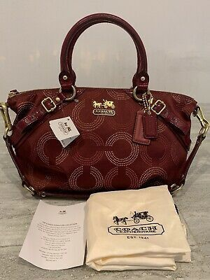 COACH MADISON DOTTED OP ART SIGNATURE C SOPHIA SATCHEL BAG CRIMSON 15935 for Sale in New York, NY