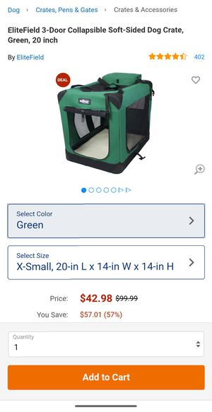 EliteField 3-Door Collapsible Soft-Sided Dog Crate, Green, 20 inch for Sale in Dearborn, MI
