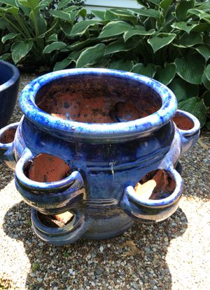 Large blue glazed pottery succulent or strawberry pot for Sale in St. Louis, MO