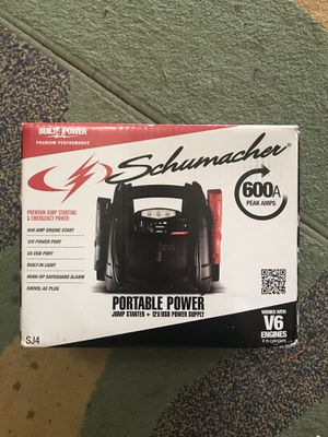 Schumacher 600A Peak Amps Portable Jump Starter for Sale in Lansdowne, VA