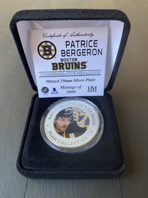 Boston Bruins Patrice Bergeron 39 mm Silver Plated Medallion for Sale in Fullerton, CA