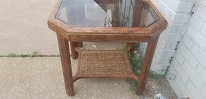 Wooden Octagon End Table w/Glass Top for Sale in St. Louis, MO