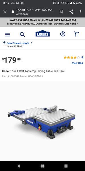 Kobalt Tile Saw for Sale in Carol Stream, IL