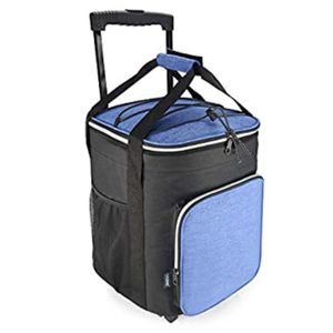 EAGLEMATE 36L Collapsible Rolling Insulated Cooler Bag Wheeled Soft Insulated Cooler Bag Ice Chest (Blue) for Sale in Ontario, CA