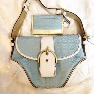 Sky blue Coach bag and matching wallet for Sale in Sun City, AZ