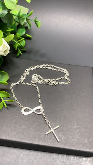 Infinity Loop & Cross Necklace Vintage Estate Jewelry, Silver Color for Sale in Los Angeles, CA