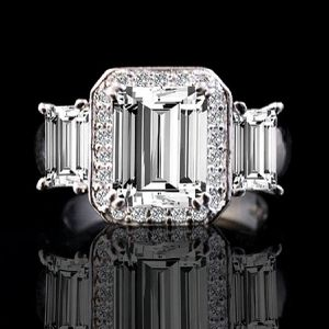 2 CT. Emerald Cut Center with two side baguettes Simulated Diamond - Diamond Veneer Vintage Sterling Silver Ring 635R72227 for Sale in San Francisco, CA