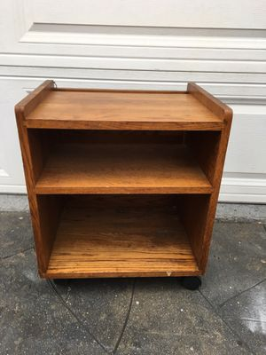 Small wooden 3-layer shelf bookcase/ cart / printer cabinet on wheels for Sale in Long Beach, CA