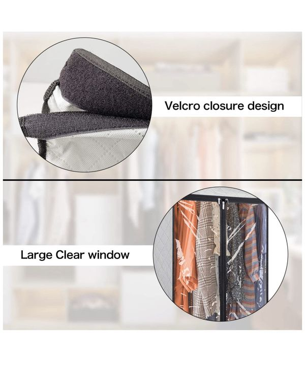 Hanging Garment Bags 43 inch Organizer Storage with Large Clear Window Garment Rack Cover Well-Sealed Closet Cover for Suit Coats Jackets Dress Close