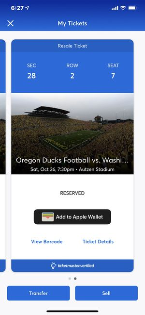 Oregon/Washington St game on Oct 26 at 7:30. $225.00 a ticket for Sale in Aurora, OR