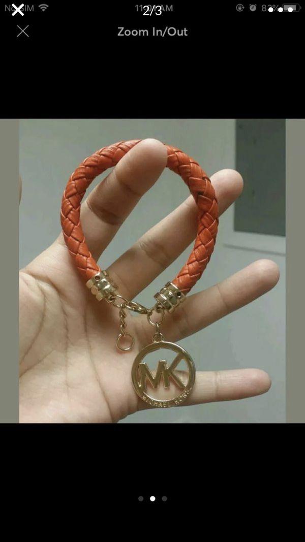 Mk Michael kors leather braided bracelet women's jewelry accessory