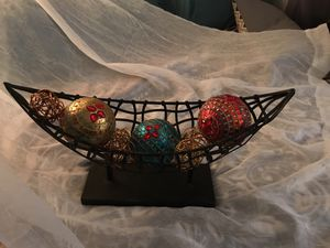 Decorative iron boat w beaded/jeweled Indian and wire balls for Sale in Plant City, FL
