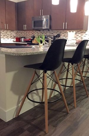 2 black seat & tan base counter height bar stools! for Sale in Fairfax, VA
