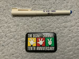NEW Walt Disney's - The Disney Channel 10th Anniversary Button AND The Disney Channel 10 Year Pen ( never used) for Sale in Henderson, NV