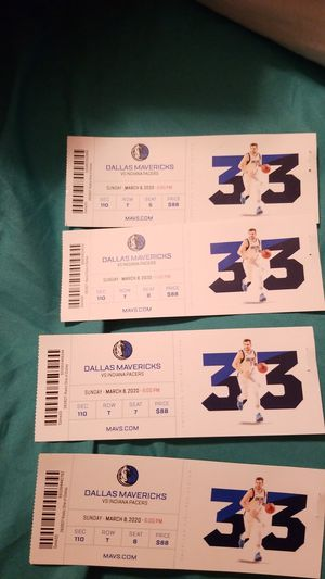 4 mavericks vs Indiana pacer game tickets for Sale in Garland, TX