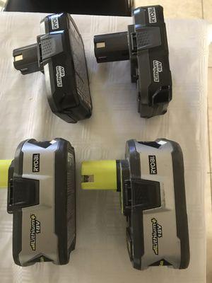 4 Ryobi 18 Volt batterries .2 x4AH 2x1.3Ah for Sale in Las Vegas, NV