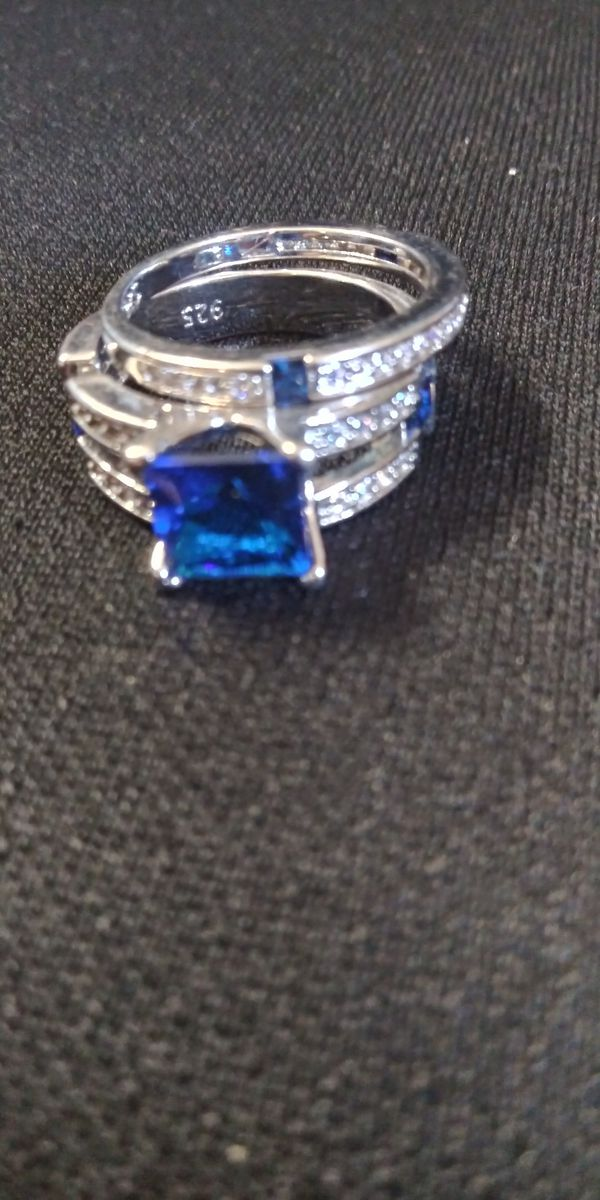 Silver and blue sapphire wedding ring