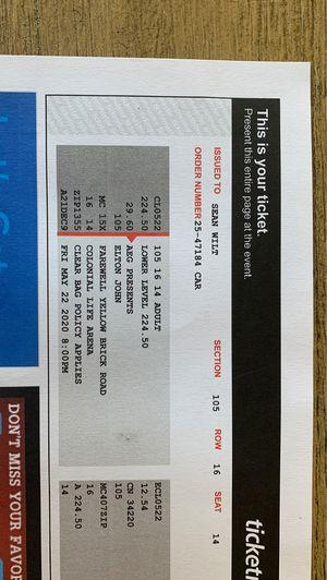 2 Elton John Tickets! Columbia S.C. 5/22/20 for Sale in Savannah, GA