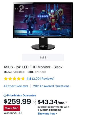 144HZ Asus Gaming Monitor for Sale in Graham, WA