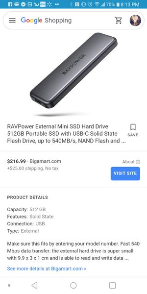 RAVPower External Mini SSD Hard Drive 512GB Portable SSD with USB-C Solid State Flash Drive, up to 540MB/s, NAND Flash and ... for Sale in Milpitas, CA