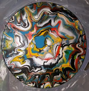 Abstract Painting over vintage vinyl wall art for Sale in Phoenix, AZ