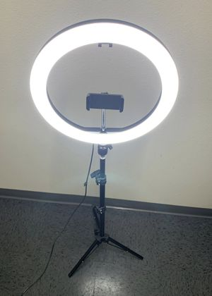 New in box 10 inch Ring LED Light Warm and Cold 3000 to 6500K USB with Adjustable Tripod and Controller Video Maker Phone Camera Holder for Sale in Whittier, CA