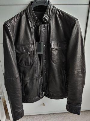 John Varvatos Men's Black Leather Classic Jacket Bike Motorcycle Jacket for Sale in Kent, WA
