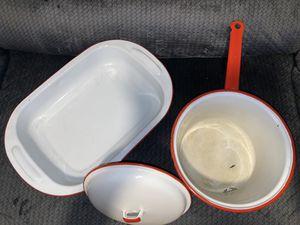 Vintage White/Red Enamelware Pan Pot & Bowl Kitchen Cooking Farm Ware for Sale in Peoria, AZ