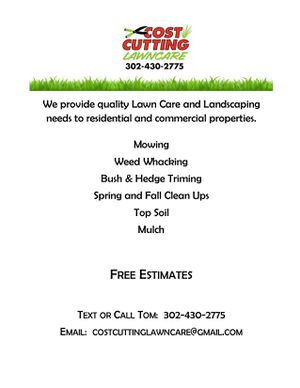 Lawn maintenance, mulching, spring cleanups, free estimates for Sale in Harrington, DE