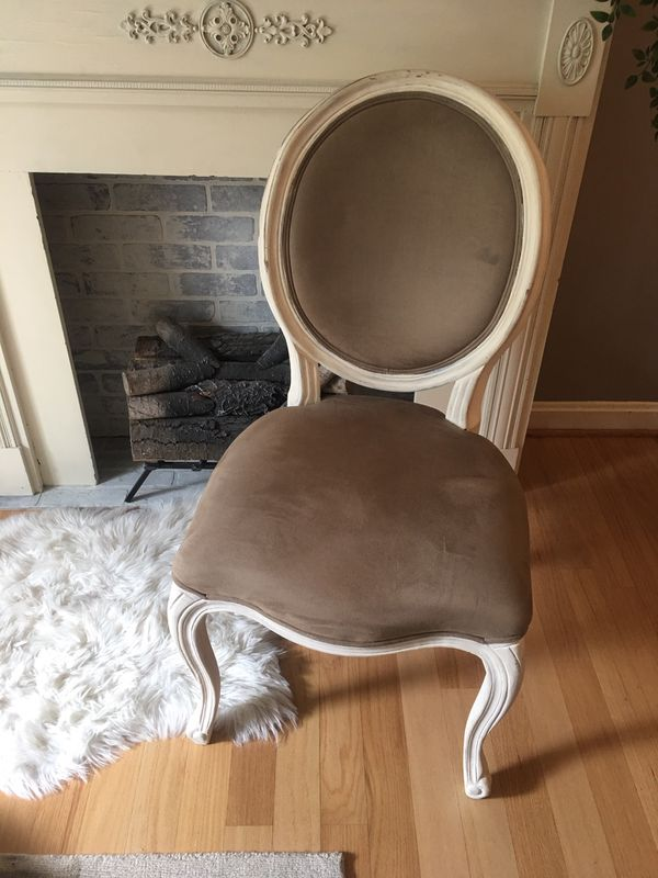 Set of Pottery Barn French Louis style chairs - Suede