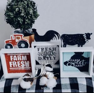 Farmhouse Cow Tractor Rooster Mini Signs for Sale in Tampa, FL