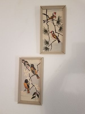 Set of two vintage paint-by-number Bird Paintings pictures framed for Sale in Peoria, AZ