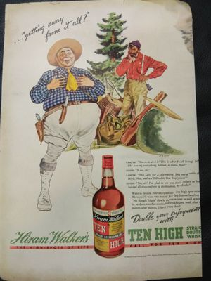 1938vintage Print Advertising - Hiram Walker Bourbon Whiskey for Sale in Houston, TX