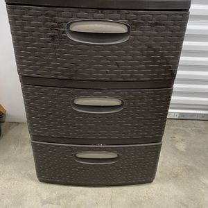 3 Drawer Storage Tower Wide Weave Large Capacity Dresser Organizer-Espresso for Sale in Chicago, IL