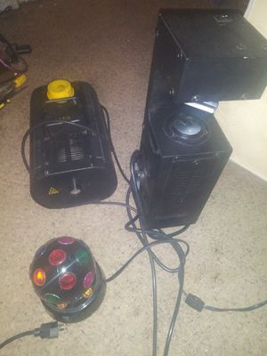 Fog machine. strobe light .lazer light moves around spins in circles . boots for Sale in Midland, TX