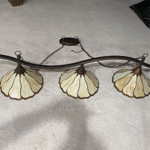 Toltec Swoop Stained Glass 3 Lamp Billiards Pool Table Lights Luminaire for Sale in Las Vegas, NV