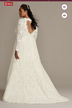 Plus size lace wedding dress size 16 for Sale in Miami Lakes, FL