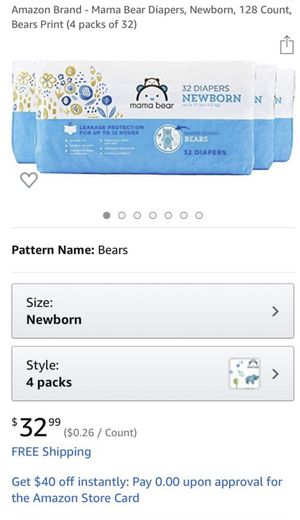 New! Mama bear newborn diaper 128ct for Sale in Covington, WA